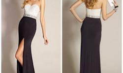 BRAND NEW tantalizing two-toned beaded evening gown by