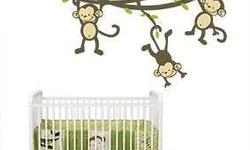 Swinging from the ceiling, this Monkey Nursery Wall