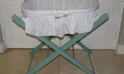 Moses wicker basket with white cotton frill and