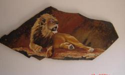 Beskrywing Painting of a lion on slate. 84cm x 40cm