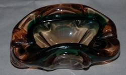 Beautiful pink/green heavy Murano glass ashtray.