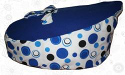 Brand new blue polka dot baby bean bags now available.