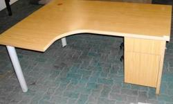 Oak L-Shape Desk + desk height pedestal D564