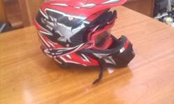 Red Off-Road Helmet+goggles Red Grey And Black DOT