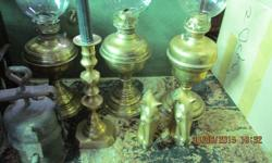 Old brass lamps etc. Price per item.