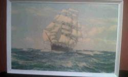 Old signed Dawson ship print. In real antique
