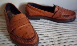 Genuine ostrich leather ladies shoes. Warn only a few