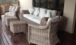 3 Seater Cane Sofa and 2 Co-ordinating Armchairs plus 2