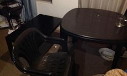 4 seater square black plastic table and two plastic