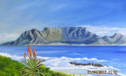 Beskrywing Original oil painting of Table Mountain on