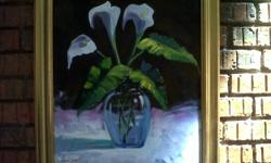 Beskrywing Title:Flowers in a Vase (Oil on Canvas)