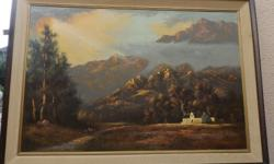 2 PAINTINGS ON BOARD, LANDSCAPE BY E.FORLEE, AND