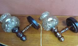 Pair of old wooden wall lights. The wood has been
