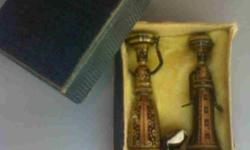 Pair of small brass Israeli figurines. Printers tray