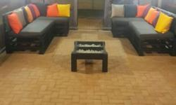 Custom made pallet patio furniture complete with