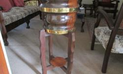 Palm stand. Imbuia wood with 2 brass bands. Very rare