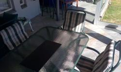 Patio Set includes 13 Chairs with cover and  Glass Top