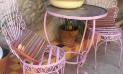 Stunning pink garden patio set One table and two chairs
