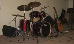 5 piece wine red Pearl export drum kit in good