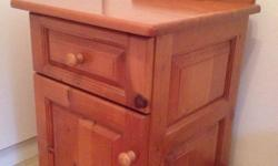 1 Solid cypress pedestal with draw & cupboard. In good