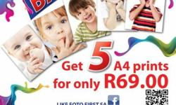 Beskrywing Get 5 A4 photographic prints for only R69!