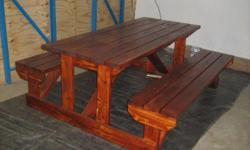 Beskrywing Adult and kiddies picnic tables available in