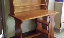 Pine desk with shelves. Solid, sturdy and in good