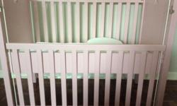 Pink wooden cot, 1200x800mm, drop down side panel,