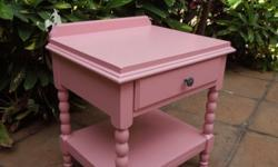 This beautiful newly restored Pink Spindle Leg Bedside