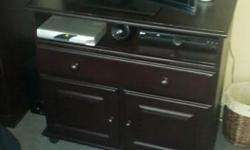 Wooden plasma TV stand and cabinet. Stained and
