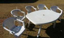 Plastic garden table and chairs. Nice big table and
