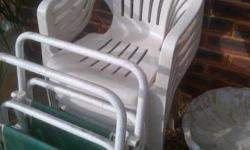 5 plastic garden outside chairs + two fold up chairs
