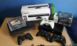 Ps3 and xbox 360 with xbox kinect for sale with 4 ps3