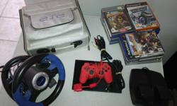 Ps 2 console ,19 games,8gig memory card,ps stering