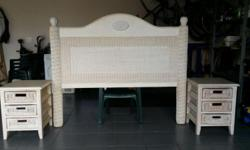 Queen size rattan and bamboo bedroom set for sale. Used