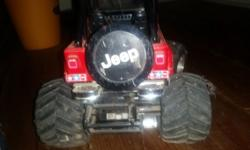 Red radio control jeep. Works with batteries