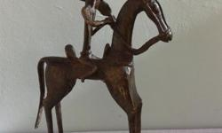 Old bronze sculpture 'ArmedWarrior on horse', height