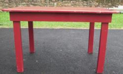 Red painted wooden table. 1200mm wide X 800mm deep X