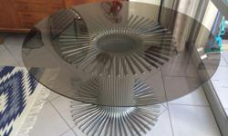Chrome & Glass 1970's Dining Table Chrome dining table