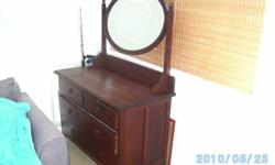 beautiful Rhodesian Teak Dressing Table with Bevelled