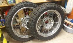 RIMS FOR GS1200. SILVER WITH TYRES, FAIRLY GOOD