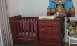 Converts into single bed with pedestal, set of drawers
