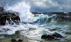 Original oil on canvas painting of rough seas. Size is