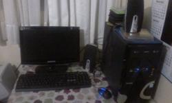 Samsung pc,flat screen monitor with tower and