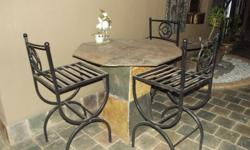 I have a slate set table 3 chairs and 2 side tables