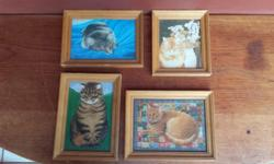 Set of 4 small cat pictures. Stunning collection.