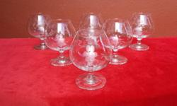 Set of 6 grape cut brandy goblets. In perfect,