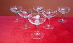Set of 6 grape cut bubbly glasses. In perfect,