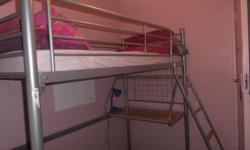 Single bunk with desk for sale.Foam matress.Silver