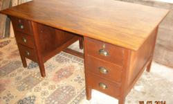 Semi antique 6 drawer desk in good condition. 153 cm